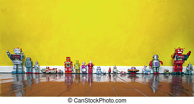 old toys  - rero tin toys on a wooden floor