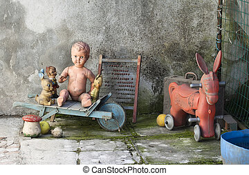 old Toys - Old VintageToys against a grunge background