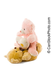 Old toys - Two old teddy bears isolated over white...