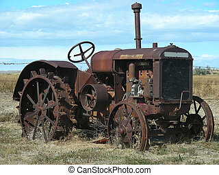 Old Tractor - Antique tractor, sitting in a field somewhere ...