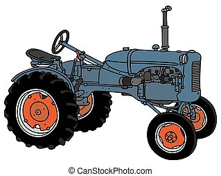 Old tractor - Hand drawing of a classic blue tractor