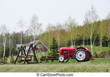 Old tractor in countryside