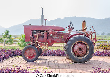 Old tractor in the farm