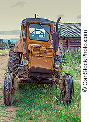 Old tractor on a street