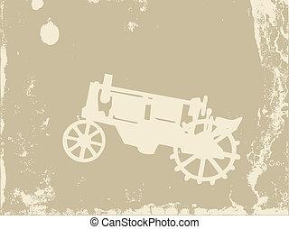 old tractor on grunge background, vector illustration