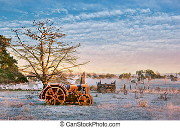 old tractor on the farm