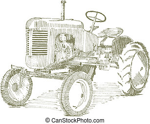 Pen and ink style illustration of an old tractor.