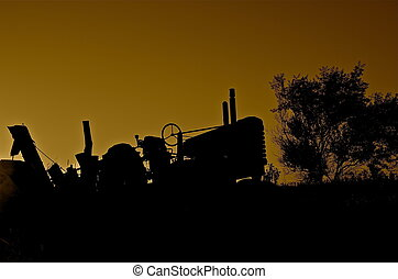 Old Tractor Silhouette