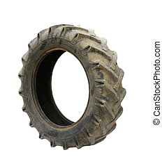 Old Tractor tires isolated on white