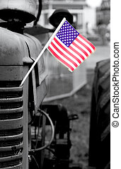 Old Tractor with flag - Tractor photo converted to black and...