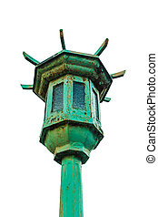 Old traditional lamp post isolate on white