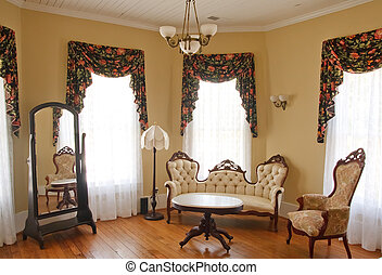 Old Traditional Sitting Room - An old fashioned parlor or...