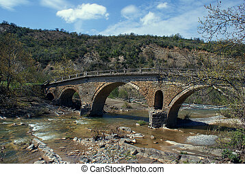 Old traditional stone made bridge at Epirus, Greece