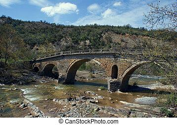 Old traditional stone made bridge at Epirus, Greece