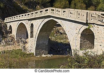 Old traditional stone made bridge at Xanthi, Greece