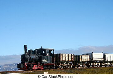 Old Train - An old train in Ny Alesund in Svalbard region of...