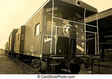 Old Train Compartments - Old train compartments in sepia...