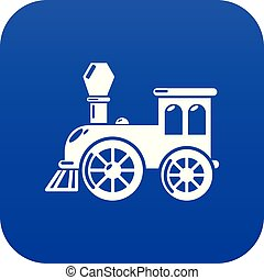 Old train icon blue vector