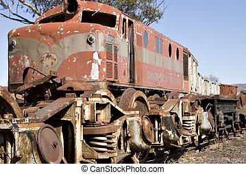 old train in yard - old diesel locomotive train in yard