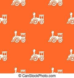 Old train pattern vector orange