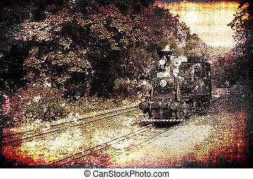 Old train - Ancient steam locomotive on a vintage railroad,...
