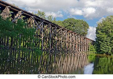 Wooden railroad trestle over river.