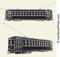 Old Tram Trolley Vector