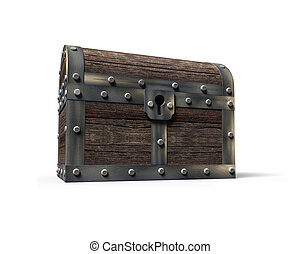 Old treasure chest, 3D rendering