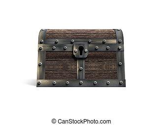 Old treasure chest, 3D rendering