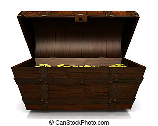 Old treasure chest. - An old wooden treasure chest filled...