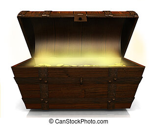 An old wooden treasure chest filled with gold coins on white background.