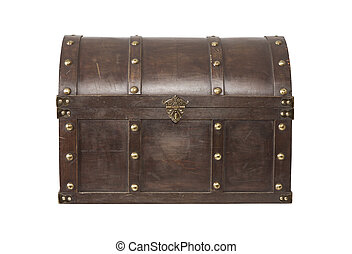 Old treasure chest isolated