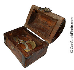 Old treasure chest, isolated