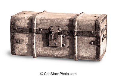 Old Treasure chest isolated on white