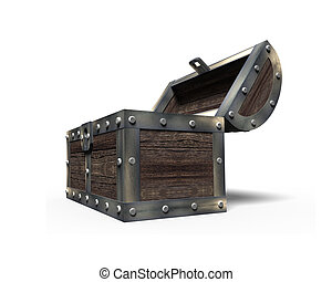 Old treasure chest open, 3D rendering