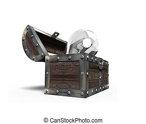 Old treasure chest open with light bulb inside, 3D rendering