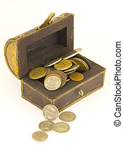 Old treasure chest with coins