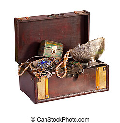 treasure chest - Old treasure chest with vintage gems and...