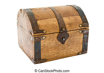 Old Treasure Chest - Wooden box isolated on a white...