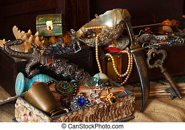 Old treasure chests with vintage gems and jewellery