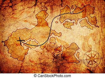 old treasure map, isolated on a white background