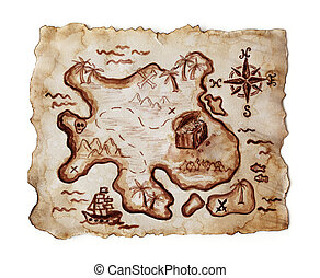 Old treasure map isolated on white background