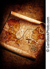 old treasure map on grunge background