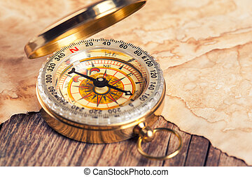 old treasure map with compass