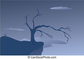old tree at breakage - vector