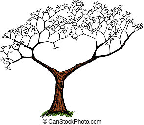 Old Tree Over White - Cartoon of old tree with green grass...