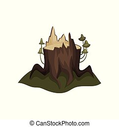 Old tree stump with big roots and mushrooms. Landscape element. Flat vector for mobile game or story book