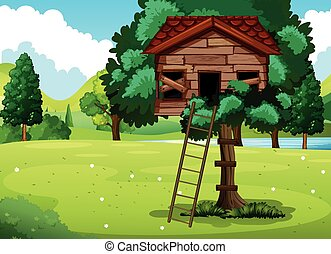 Old treehouse in the park illustration