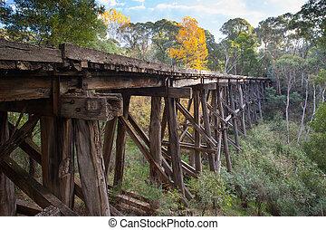 A historic disused railway trestle bridge near Koetong, Victoria, Australia