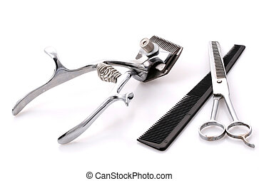old trimmer on white background - old hair trimmer on white...